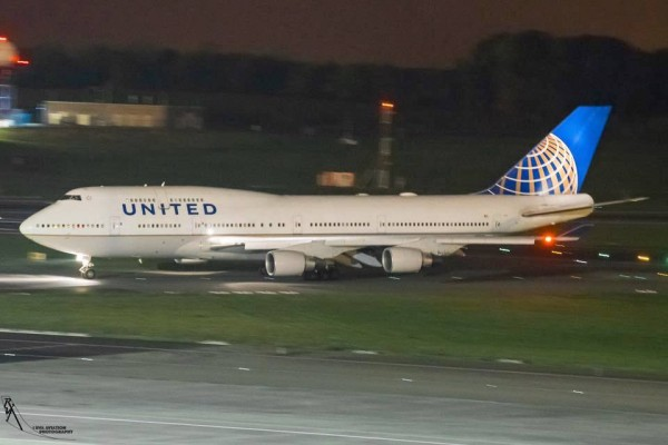 United Airlines Boeing 747 at Brussels Airport
