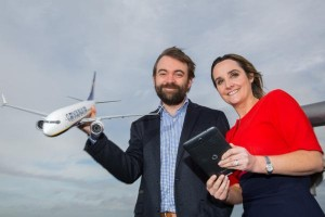Ryanair's John Hurley & Vodafone's Anne Sheehan, launching the new partnership