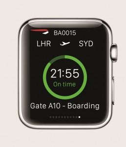 British Airways app for for Apple Watch - flight status compr