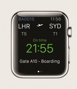 British Airways''glance' screen for Apple Watch compr