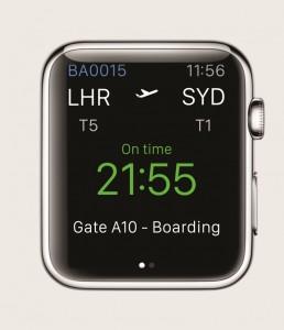 British Airways''glance' screen for Apple Watch compr