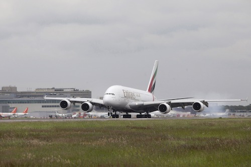 Emirates A380 in LGW