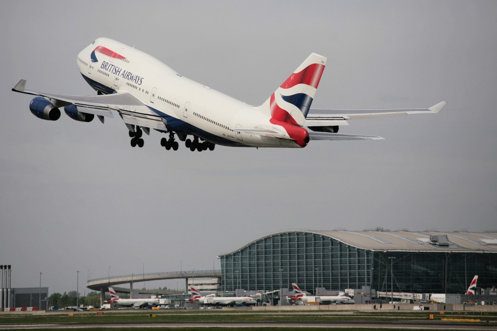 A British Airways Boeing 747 takes off with T5 in the background, Heathrow, UK, 28 April 2010 (Picture by Nick Morrish/British Airways)