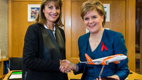 Photographer Ian Georgeson, 07921 567360 Easyjet chief executive Carolyn McCall and First Minister Nicola Sturgeon