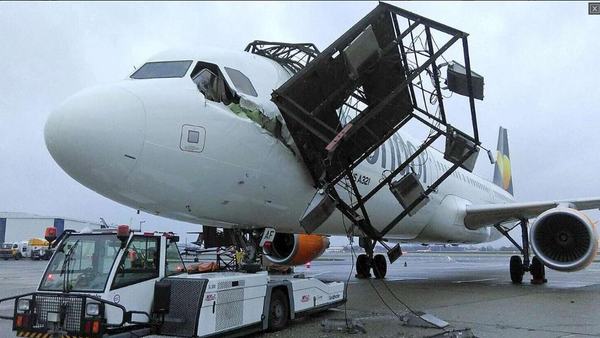 Condor Flugdienst hits light pole