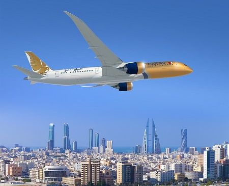 787; Gulf Air; Air to Air over Abu Dhabi; Gold white and Blue Livery; View from lower right side; K66494