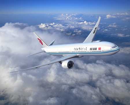 Air China; 777-300ER Artwork; View of Plane from the front right side; K64495