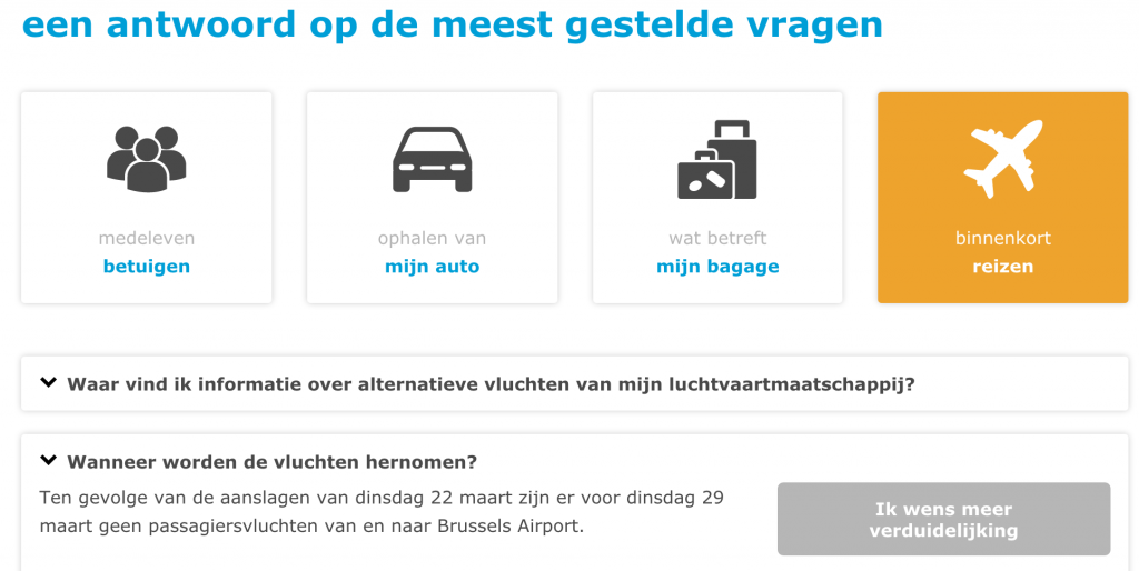 Brussels Airport website after 22/03/2016 terror attacks