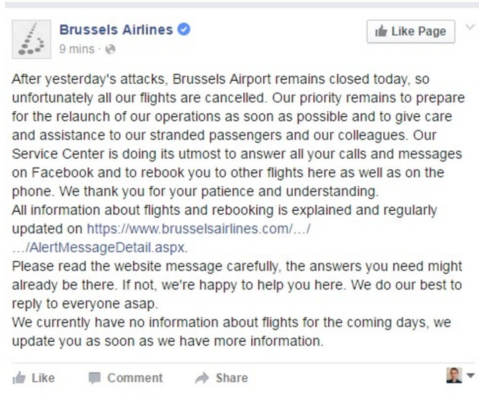Brussels Airlines twitter after 22/03/2016 Brussels Airport attacks