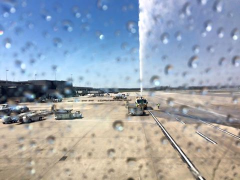 Brussels Airlines water salute at Washington Dulles Airport