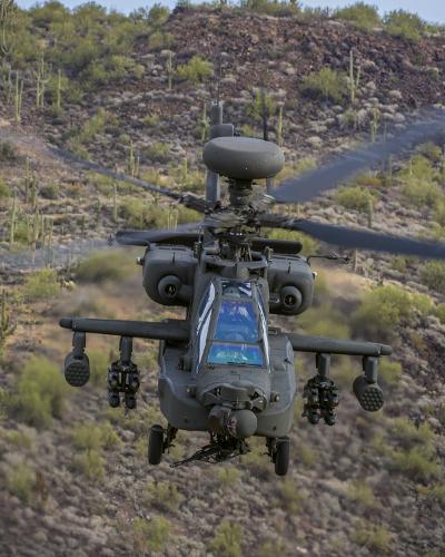 Apache AH 64E ground to air shoot in the Arizona desert