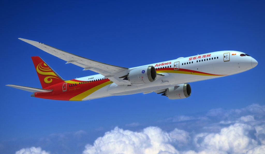 787-9; Hainan Airlines; Hainan Airlines Celebrate Delivery of Airlines' First 787-9 Dreamliner; GE Engines; View from Bottom Left; K66552