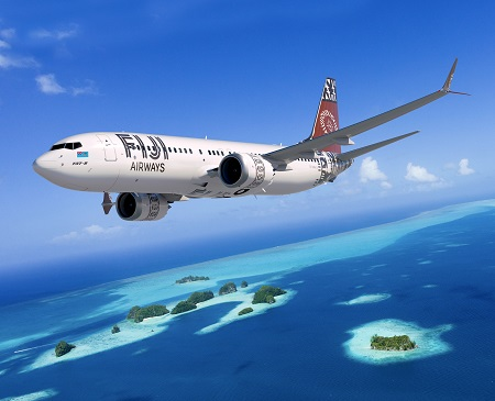 737-8 Max; 737; Fiji Airways; Rendering; over Tropical Ocean; View from low right side; K66590
