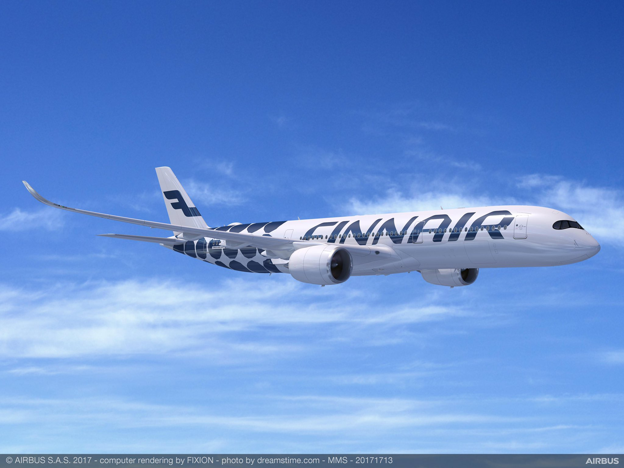 roll out of a new marimekko livery on a finnair airbus