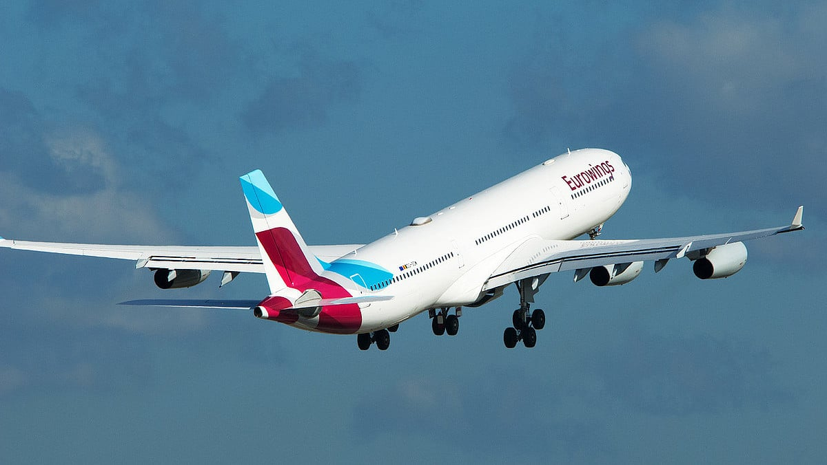 Eurowings Airbus A340 to New York (operated by Brussels