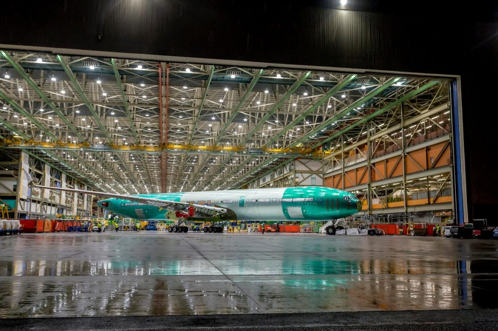 First Boeing 777X rolls out of Boeing Everett plant for