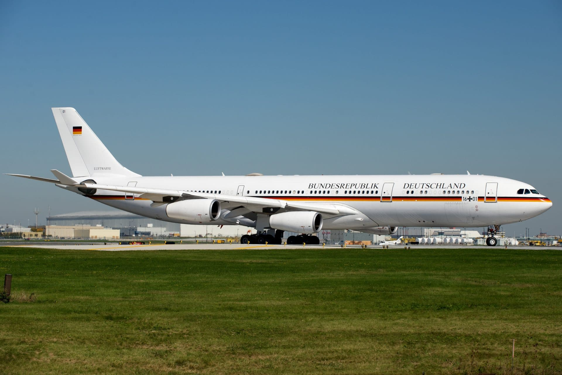 German Air Force Airbus A340 with chancellor Angela Merkel on board
